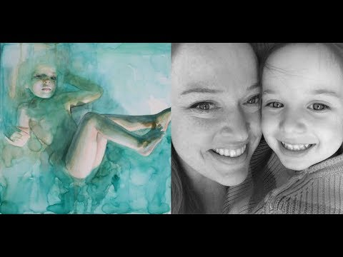 "Ali Cavanaugh with daughter and portrait, ""In the Dream She Was Floating Not Completely Submerged"""