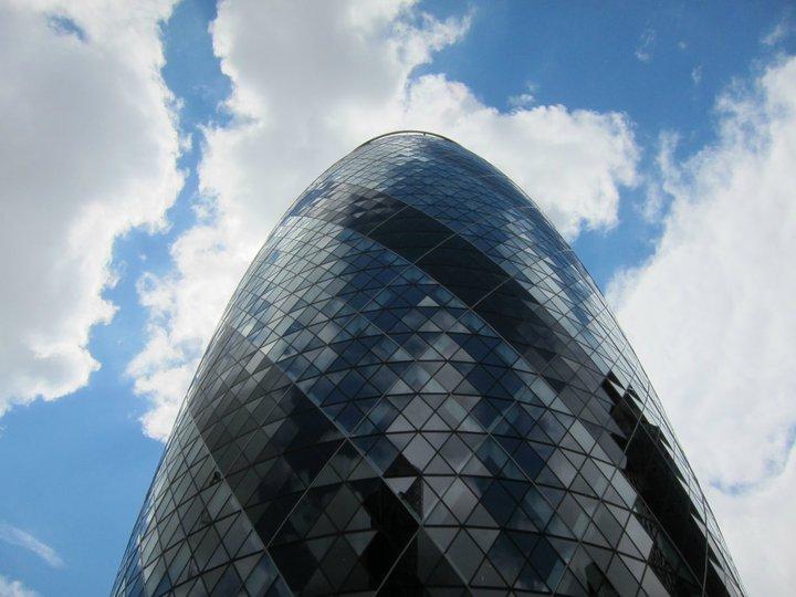 The Gherkin London blue sky