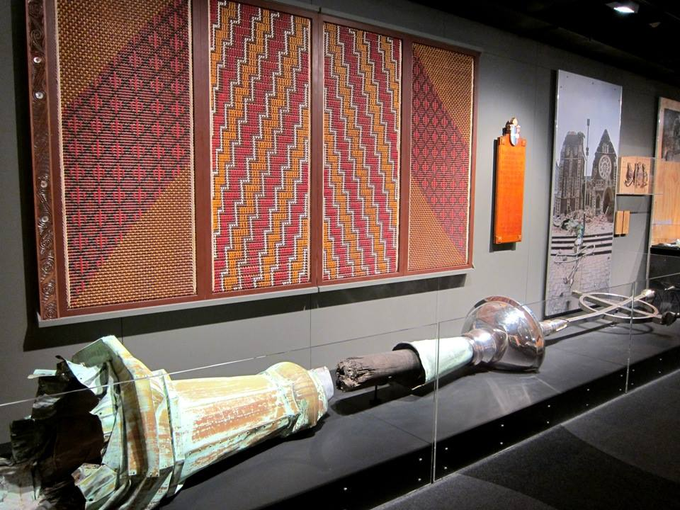 The Tukutuku panel and the spire, now exhibited in Quake City.