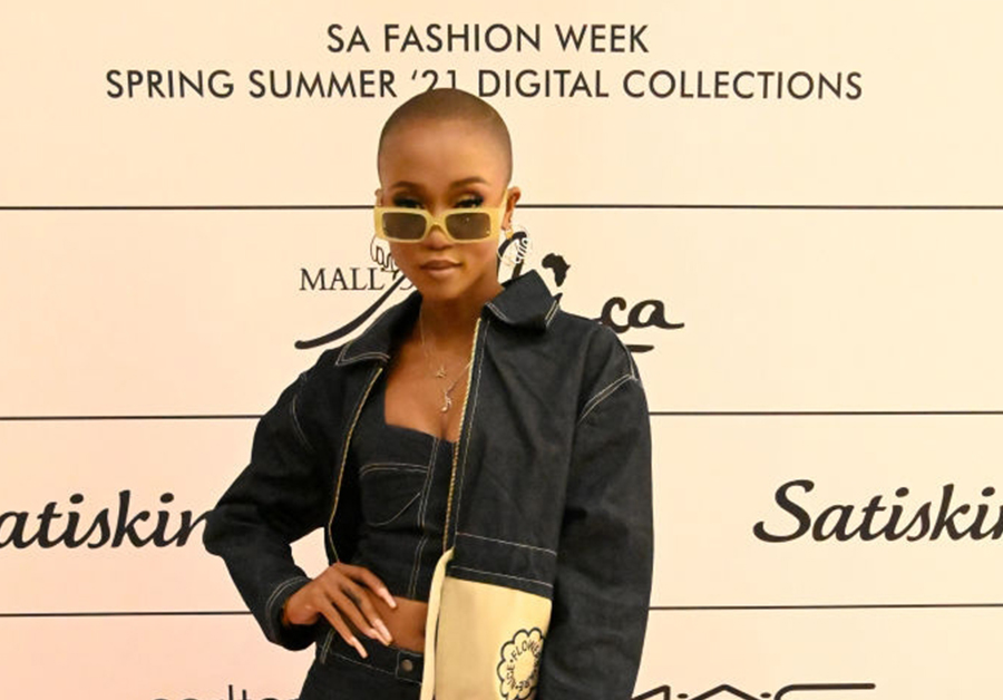 Nomuzi Mabena at the SA Fashion Week SS21 Digital Collections at the Mall of Africa on May 01, 2021 in Midrand, South Africa. SA Fashion Week is an annual event which showcases South African designer's latest collection.