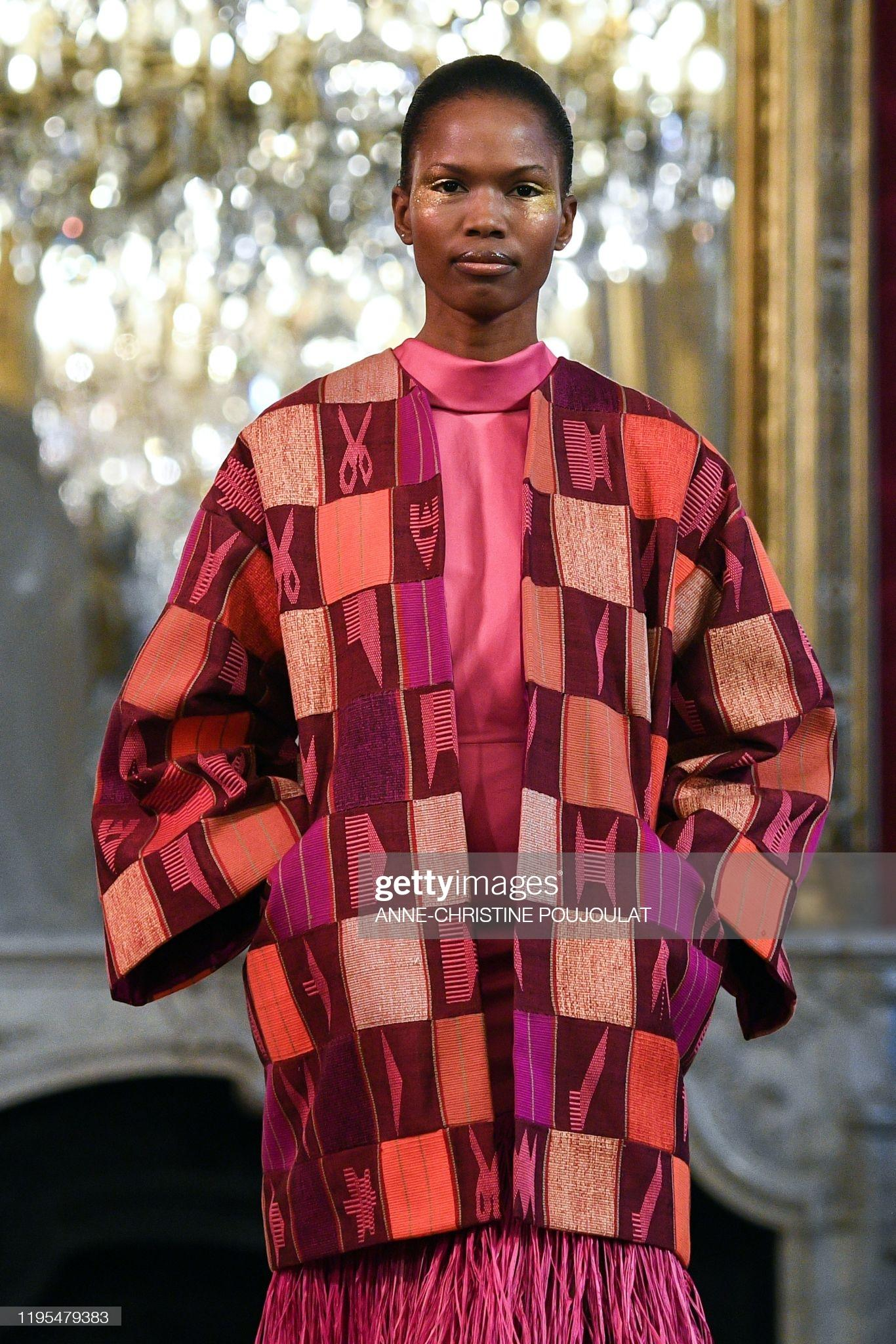 A model presents a creation by Imane Ayissi during the Women's Spring-Summer 2020 Haute Couture collection fashion show in Paris, on January 23, 2020.
