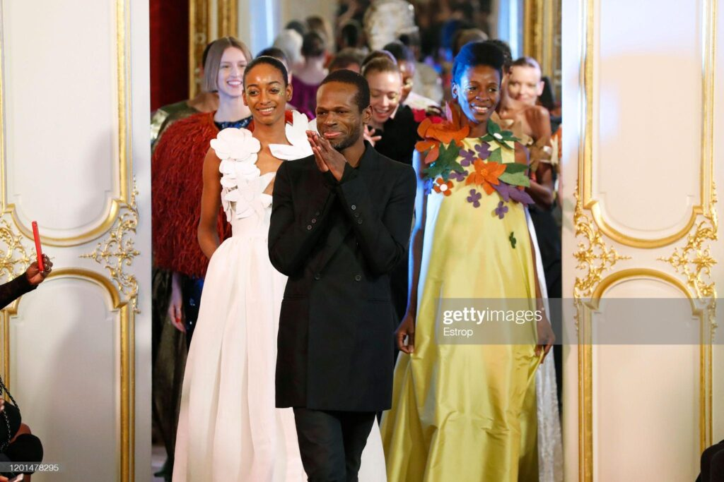 Fashion designer Imane Ayissi during the Imane Ayissi Haute Couture Spring/Summer 2020 show as part of Paris Fashion Week on January 23, 2020 in Paris, France.