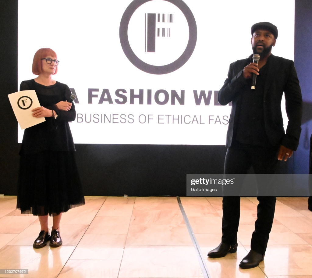 Lucilla Booyzen & Ole Ledimo  at the SA Fashion Week SS21 Digital Collections at the Mall of Africa on May 01, 2021 in Midrand, South Africa. SA Fashion Week is an annual event which showcases South African designer's latest collection.