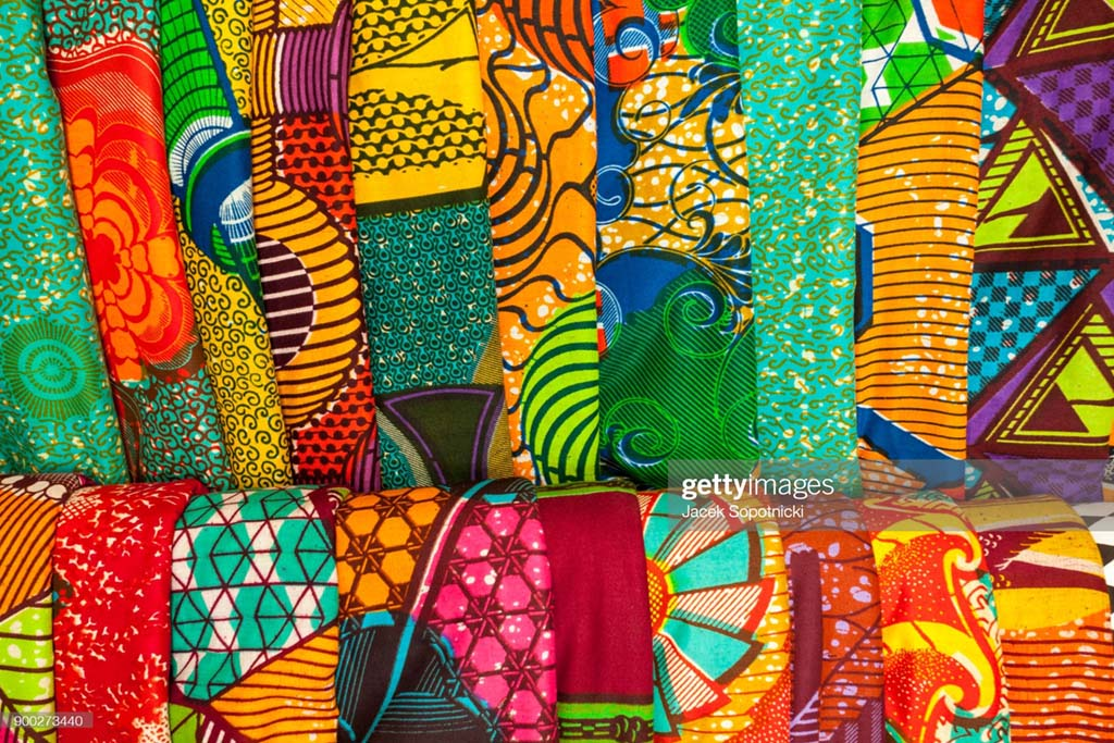 African traditional fabrics in a shop in Ghana.