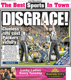New York Post Cover - Packers vs. Seahawks