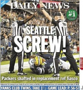 NY Daily News Cover - Packers vs. Seahawks