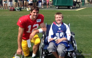 Cody Monroe (right) got to hang out with his favorite player, Aaron Rodgers.