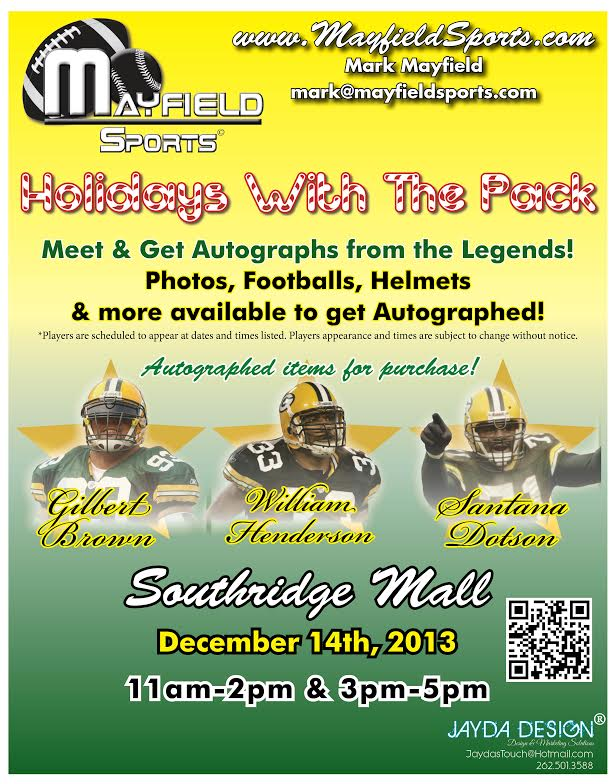 Holidays with te Pack - Gilbert Brown, William Henderson, Santana Dotson Autograph signing,