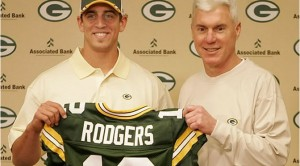 Packers general manager Ted Thompson selected future Hall of Fame quarterback Aaron Rodgers with his first pick as the Green Bay GM.