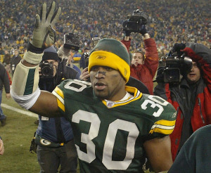 Ahman Green played eight seasons for the Packers and finished as the team's all-time rusher with 8.322 yards.