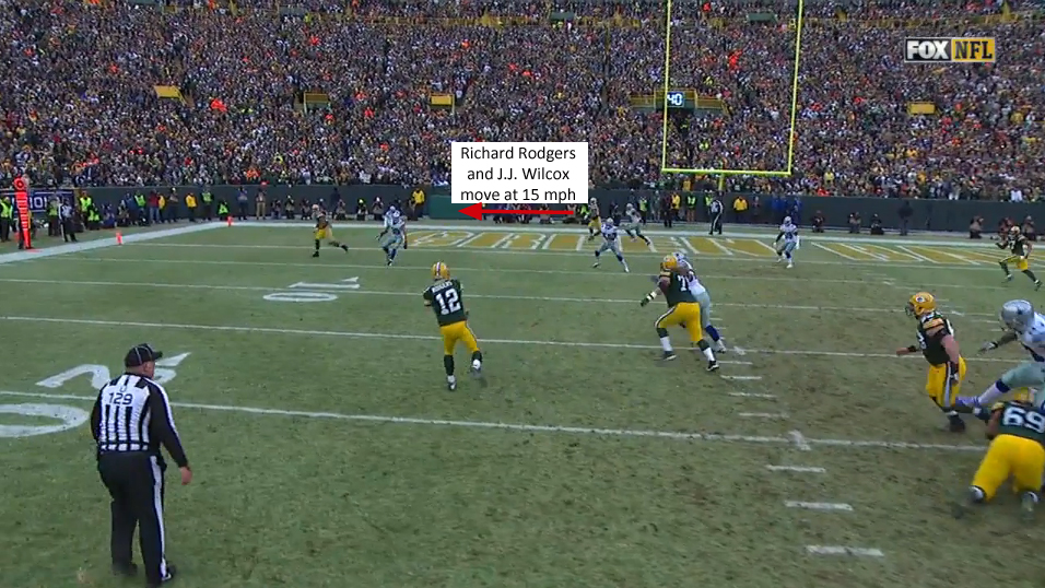 Rodgers and Wilcox in the end zone