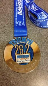 2014 Columbus Marathon Finisher's Medal -- Achieving Millennial