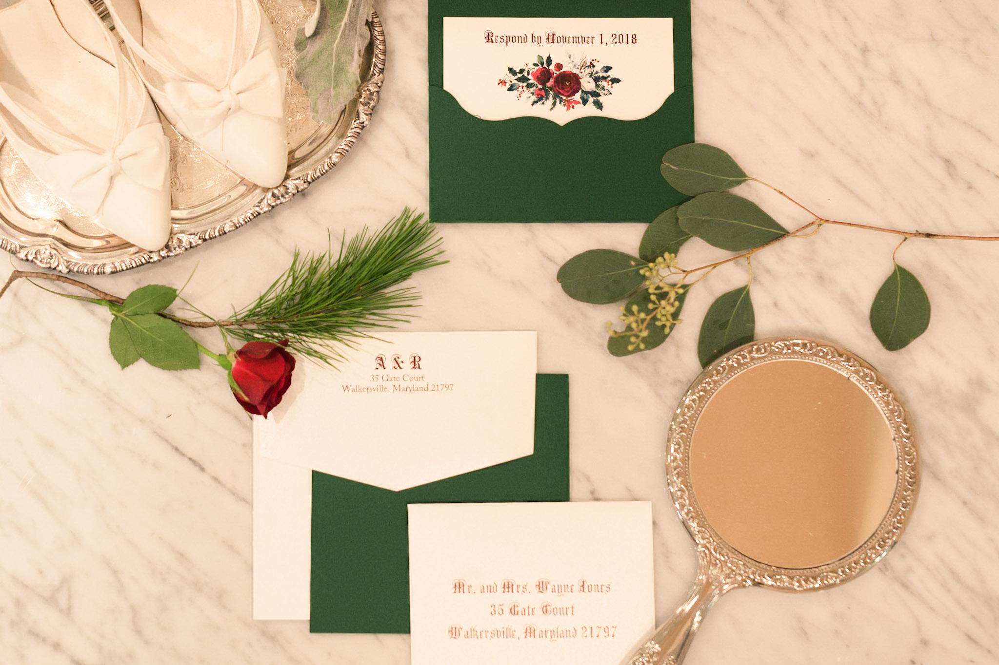 Winter fairy tale wedding invitations