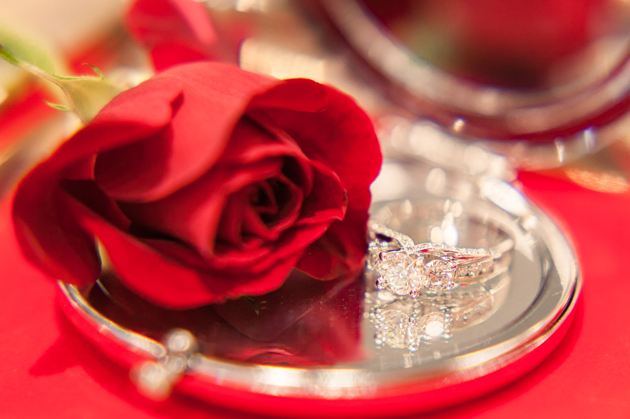 rose and wedding ring