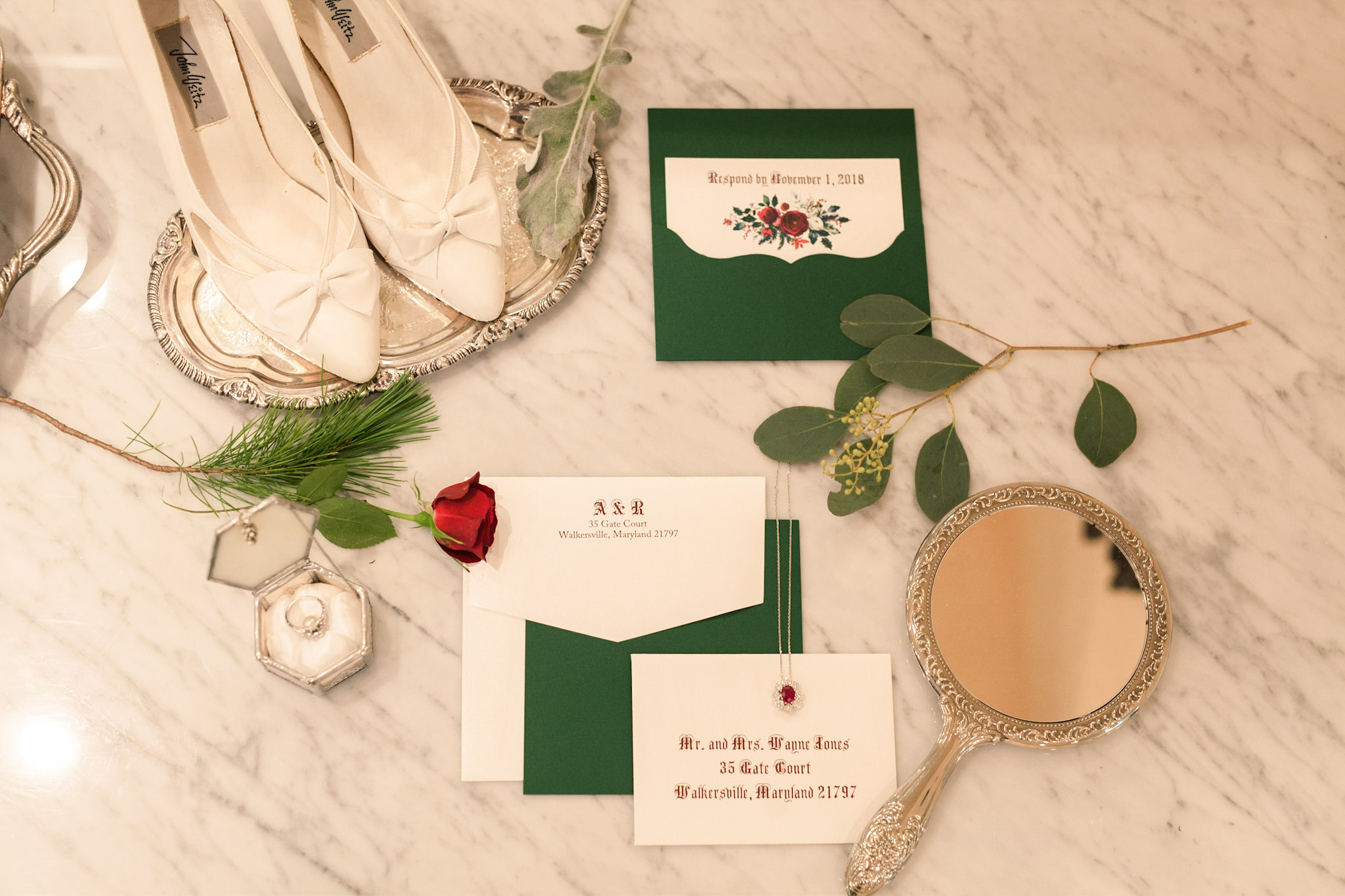 winter fairy tale wedding shoes ring mirror invitation