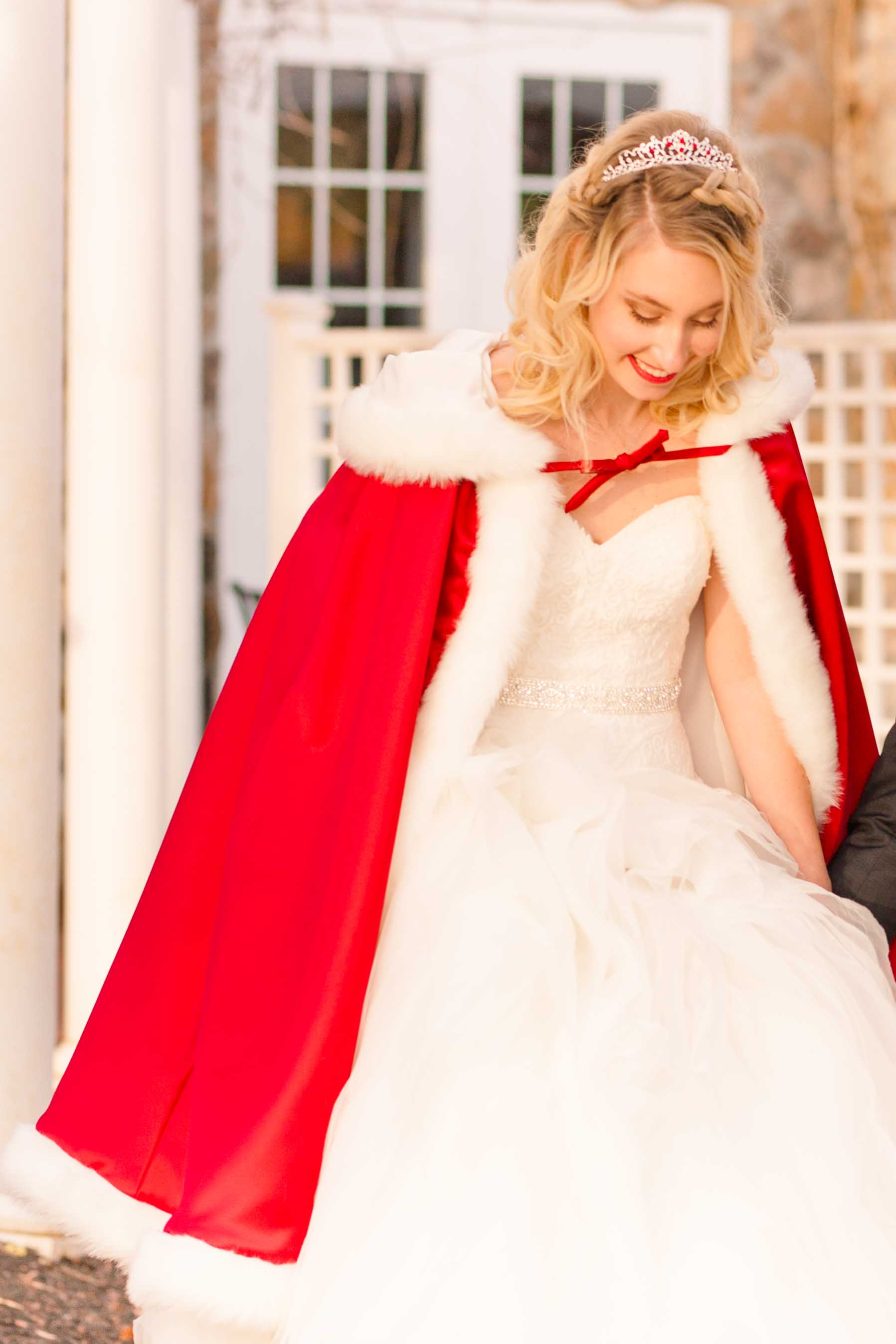 bride in red cape fairytale