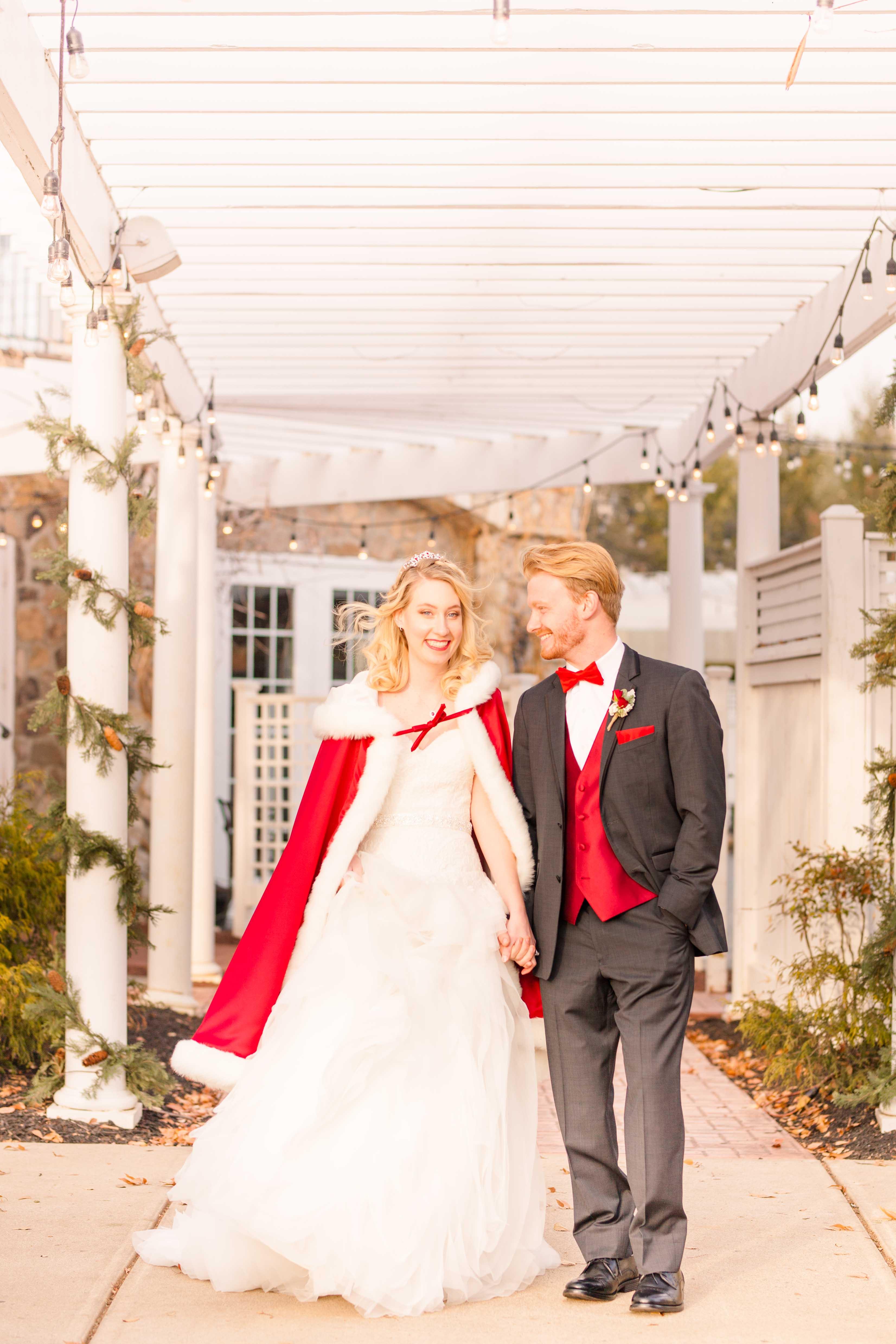 winter fairytale wedding couple
