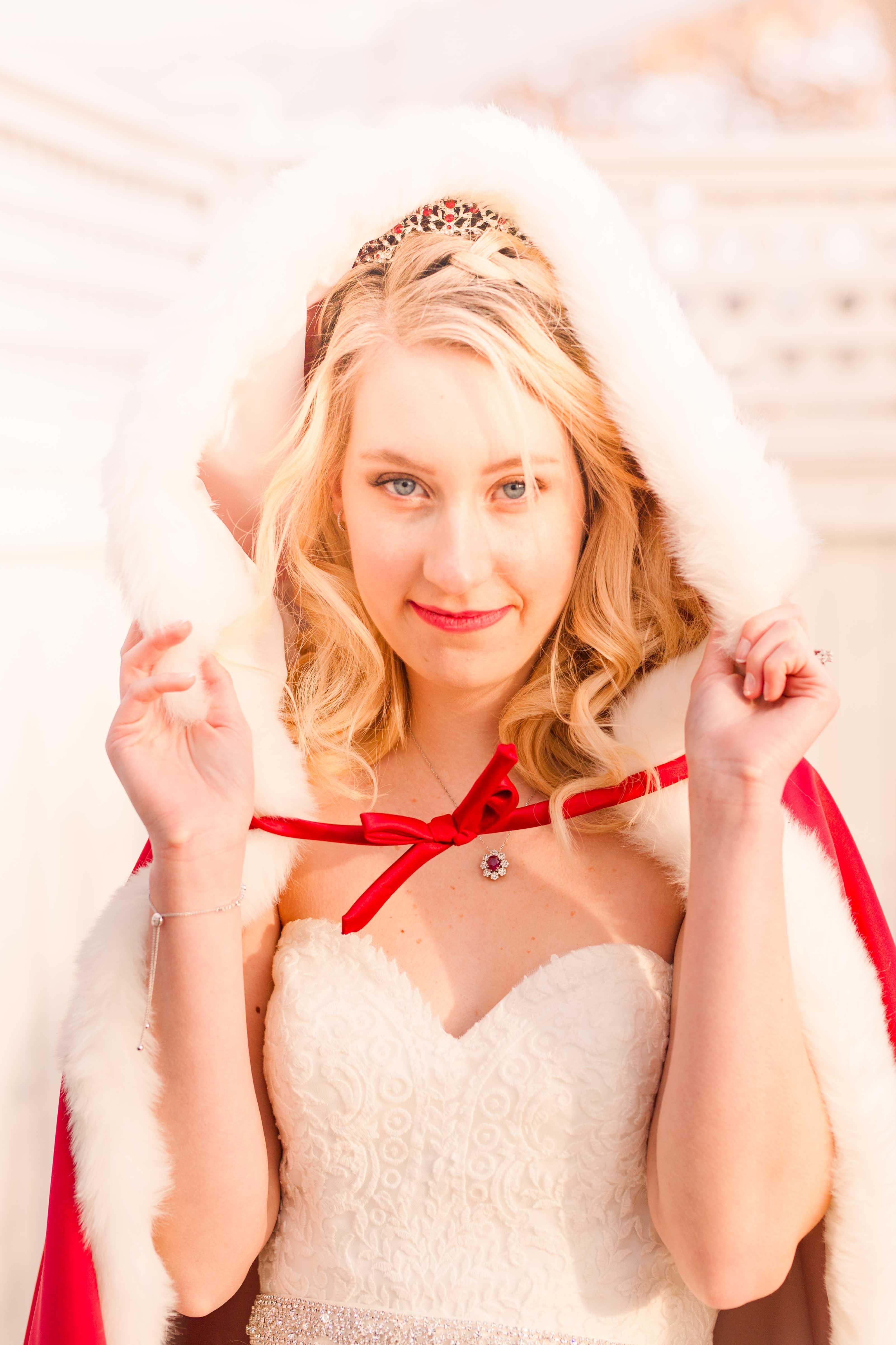 winter wedding bride red cape hood