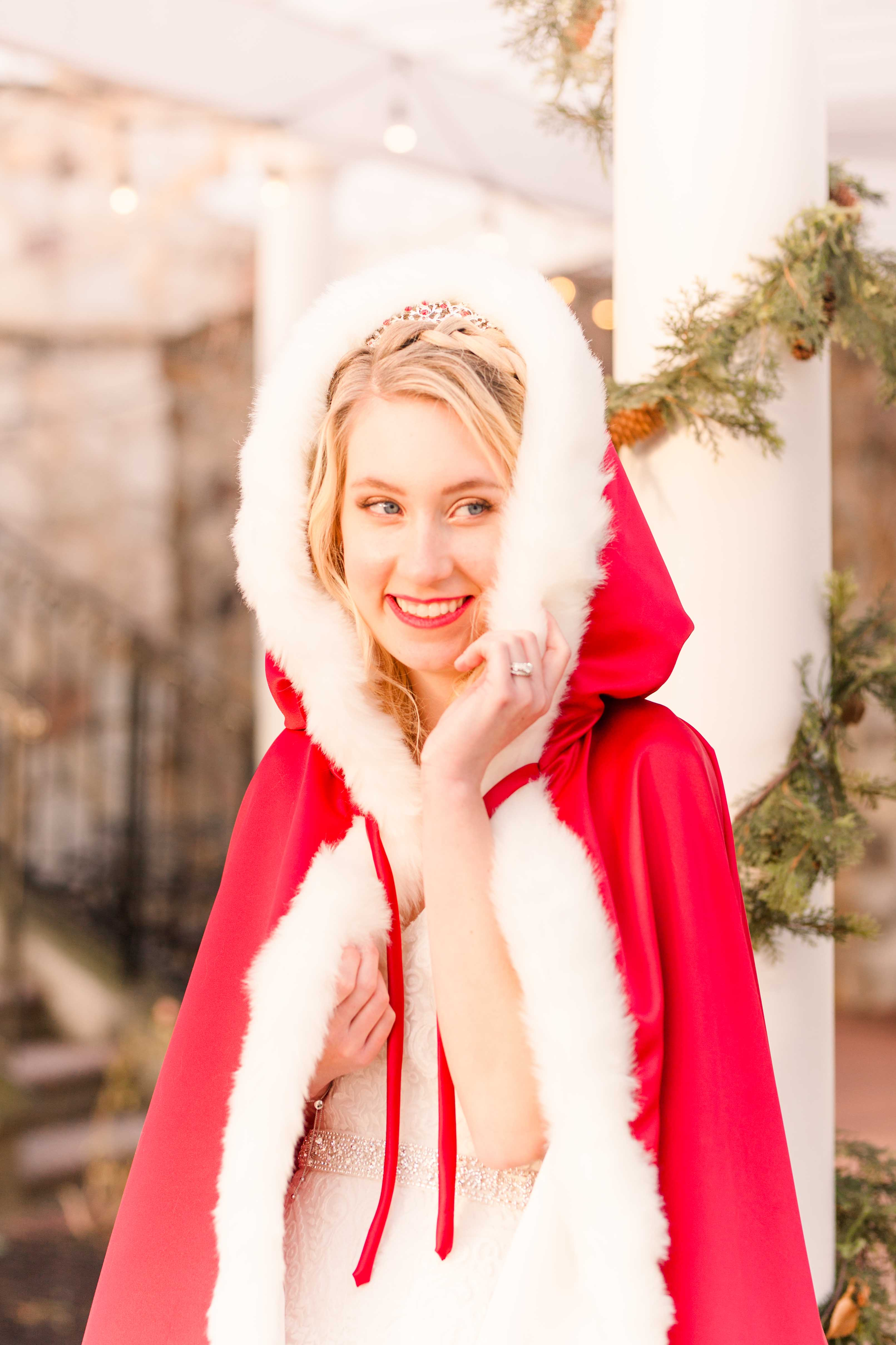 winter fairytale bride red cape and hood