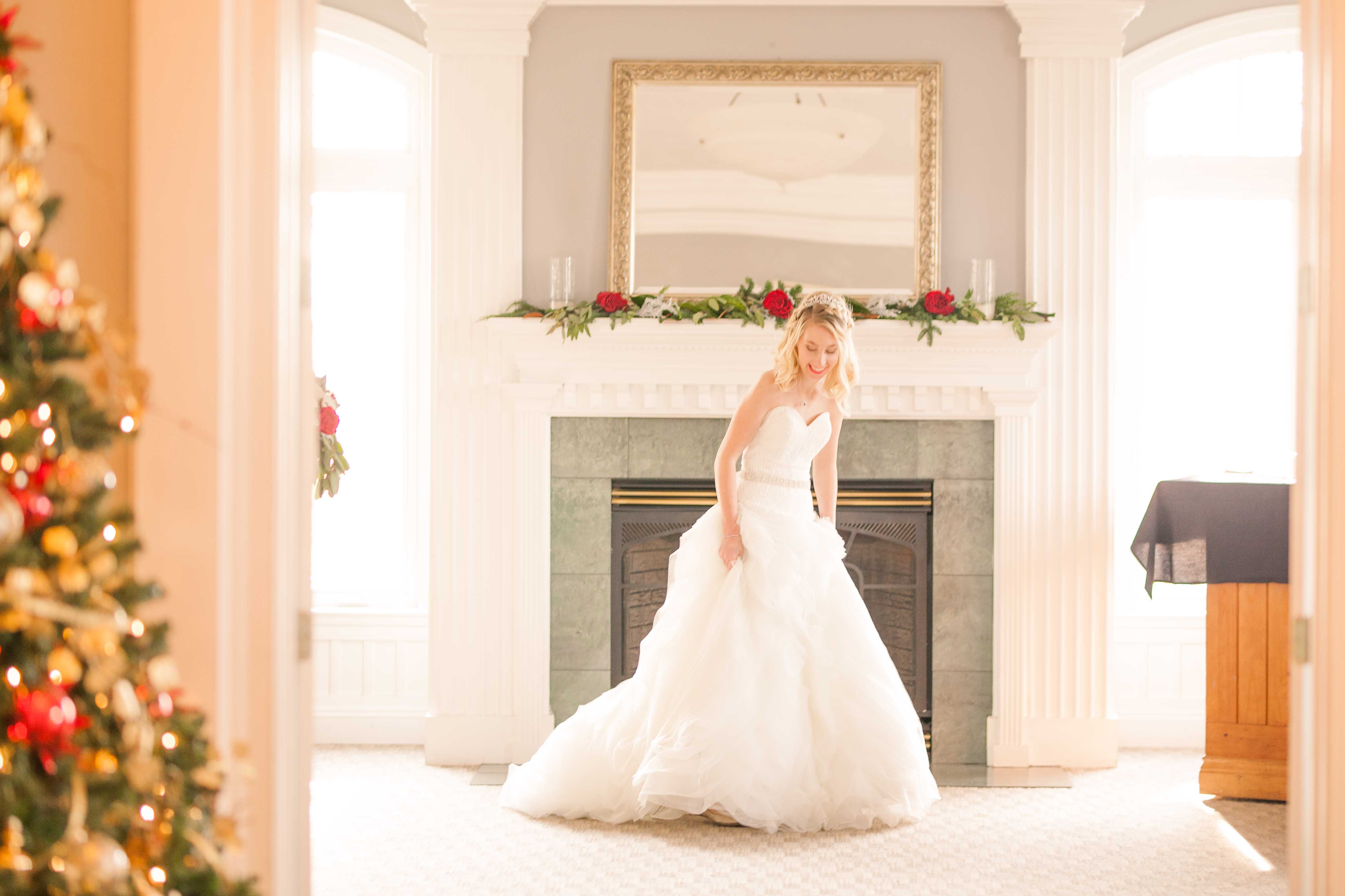 winter wedding bride in front of mantle