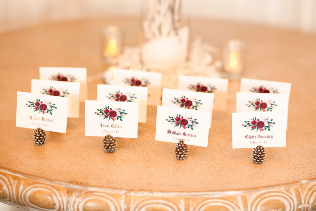 Winter theme wedding pinecone name holders