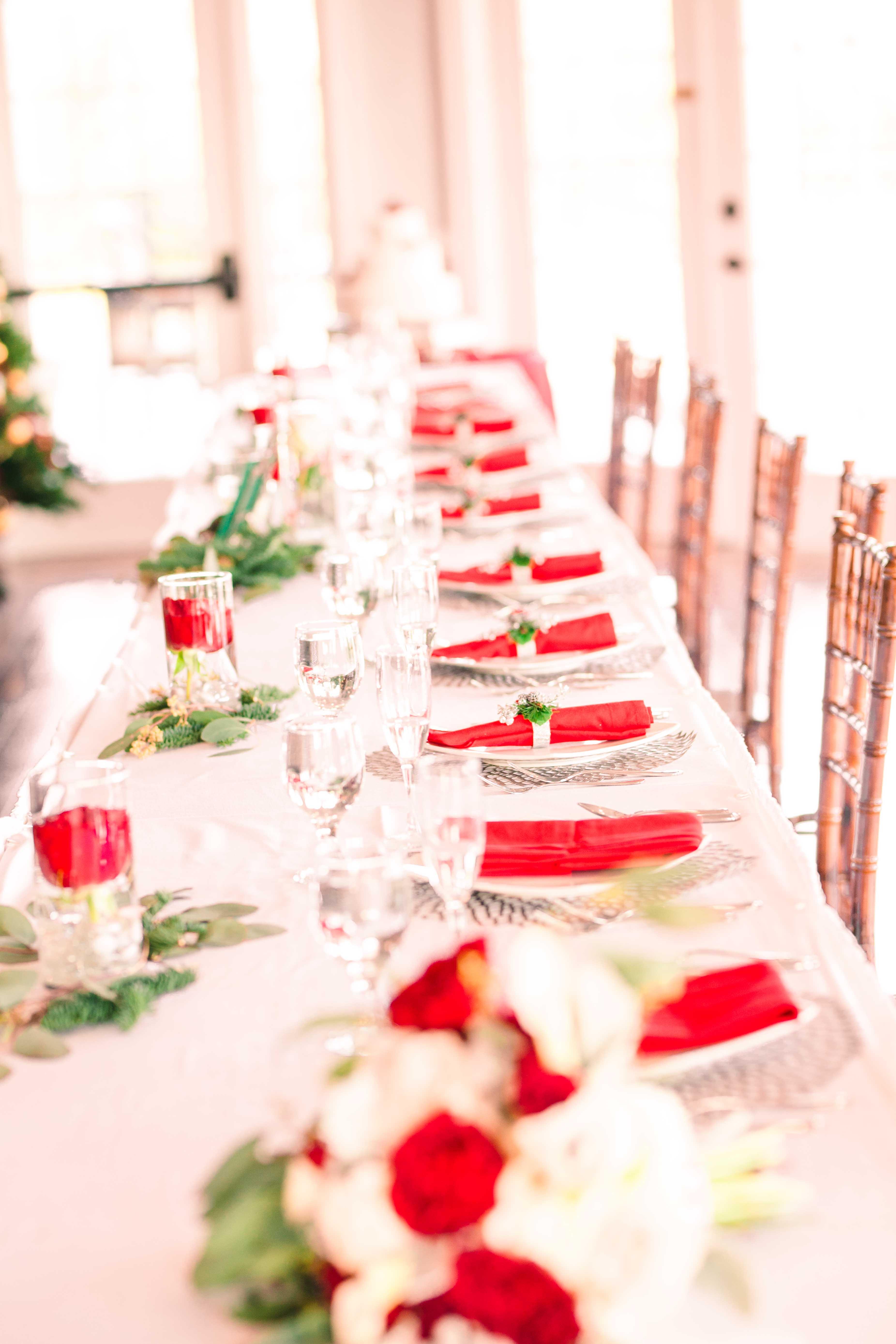 Winter wedding table spread