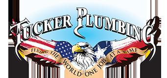patriotic plumber tucker plumbing logo with bald eagle brandishing American and Texas flag wings