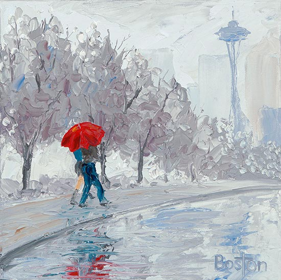 Seattle Winter Oil Painting