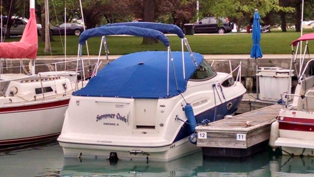 Baliner Cockpit Cover in Sunbrella Marine Blue Tweed