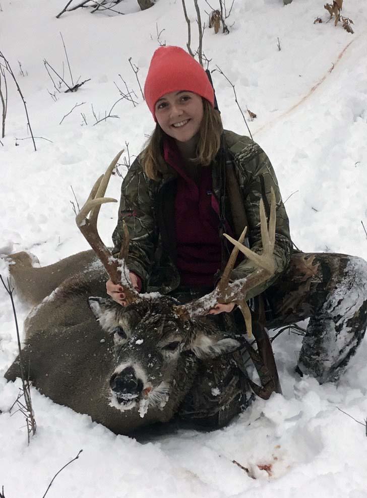 2019: Isabel Abrams of Piseco with her 170-pound, 9-pointer taken Nov. 2 in Lake Pleasant, Hamilton County.