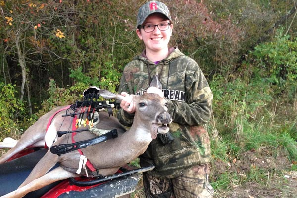 Hannah Farrell, age 15 of Fort Ann with her first deer: an archery doe.