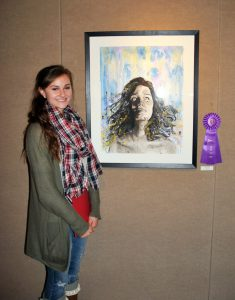 Margie Crosby with her piece that won both Best of Show and People's Choice.