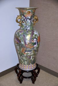 This Satsuma Style Peacock Vase, which is on permanent display in the hallway of the Gladys Woods Kemper Center for the Arts, is part of the art collection donated by the Ruthenbergs.