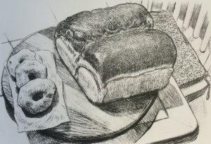 New Baden Twin Bread & Doughnuts by Pete Poplaski lithograph