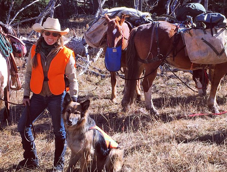 Mandy Griffey with a trail team of horses