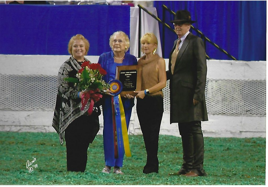 Sarah being honored with the 2019 Audrey Pugh Guthridge Award at the Ky. State Fair World Championship Horse Show