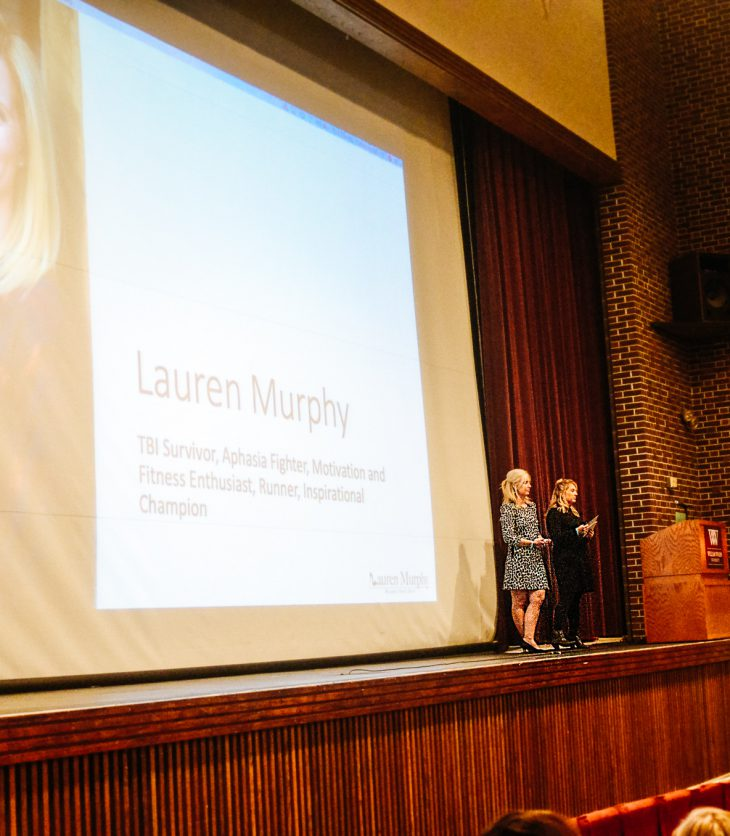 Lauren Murphy presenting in Cutlip Auditorium