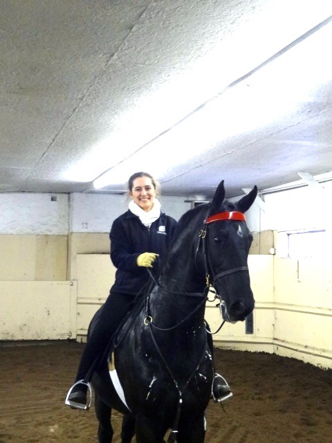 Photo of Allie aboard the stallion Callaway's Bluesman during a visit to Callaway Hills