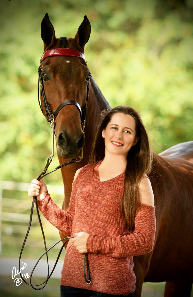 Photo of Allie and her Saddlebred mare Poison Apple