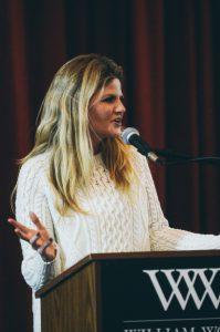 Photo of Kristina Baum at the podium