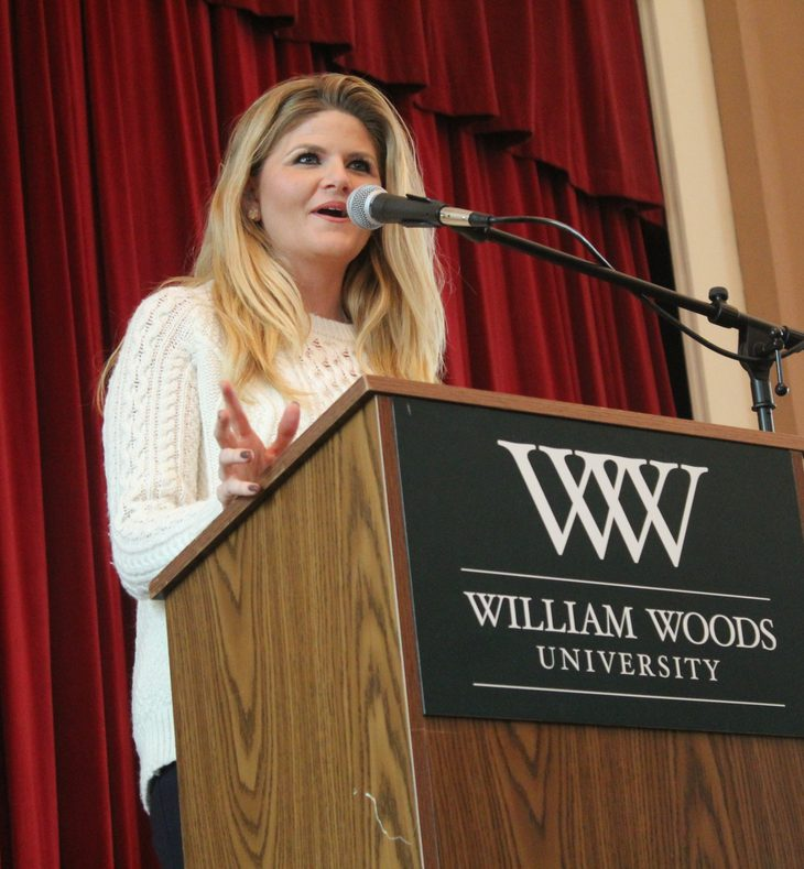 Kristina Baum speaking to WWU students