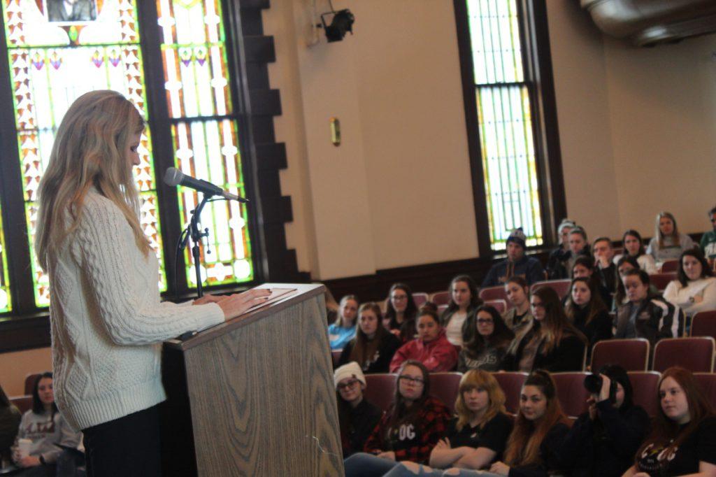 Photo of Kristina Baum speaking to WWU students