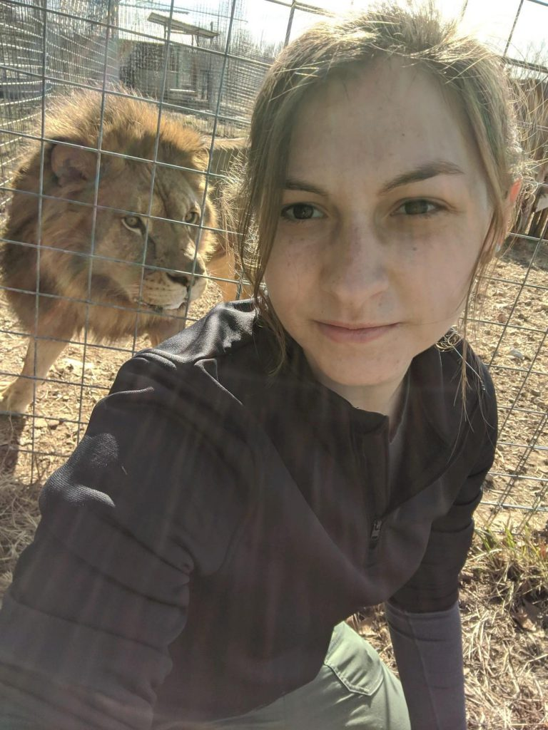 Julia with a lion