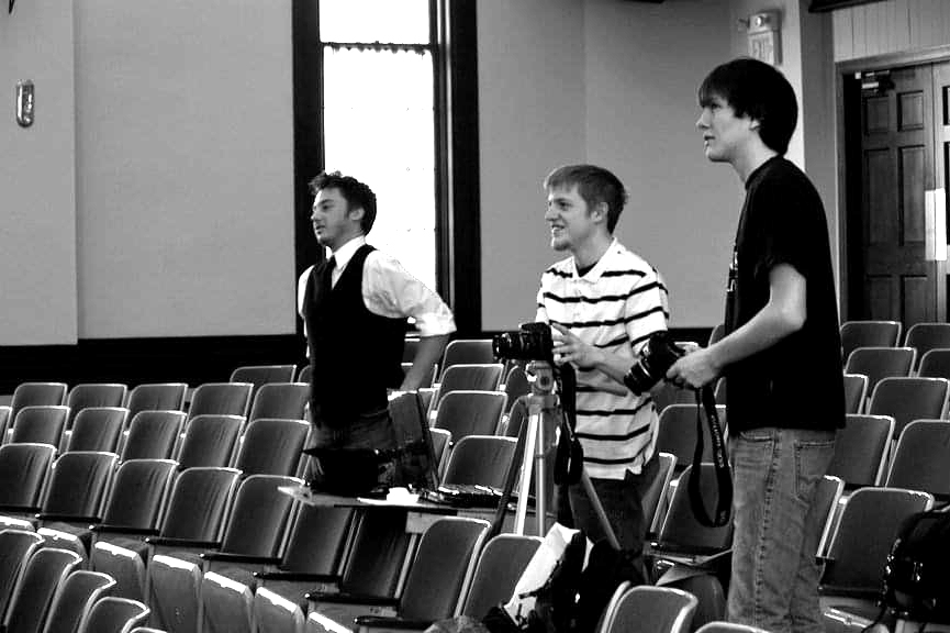 Joshua Potter working on a theatre production in Dulany Auditorium