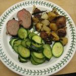 Wine-Marinated Tri-tip, Iron Skillet Roasted Potatoes, Zucchini, and Coconut Tart