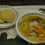 Lemony Chicken Soup and Garlic Rolls
