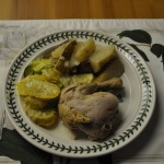 Greek Roasted Chicken and Potatoes, Sauteed Zucchini, and Pear Torte