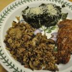 George Ann's Pork Tenderloin, Italian Spinach, and Wild Rice with Mushrooms