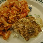 Field Greens with Bacon and Blue Cheese, Baked Local Halibut, and Pasta Napolitana