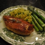 Chicken Saltimbocca, Roasted Asparagus, and Risotto Milanese